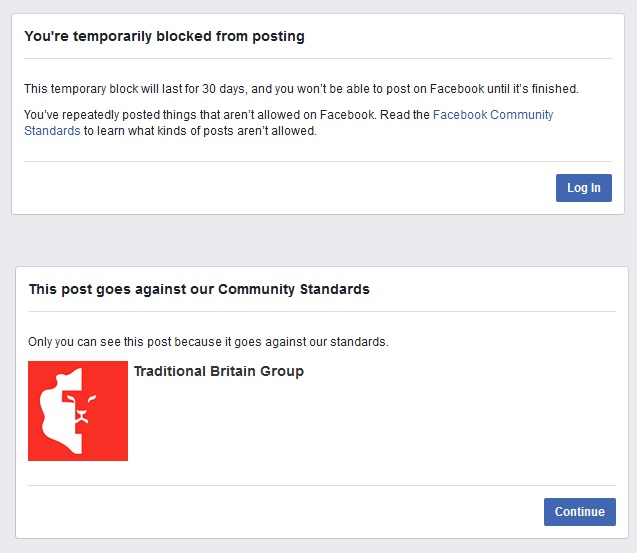 Facebook censorship of free speech | Traditional Britain Group