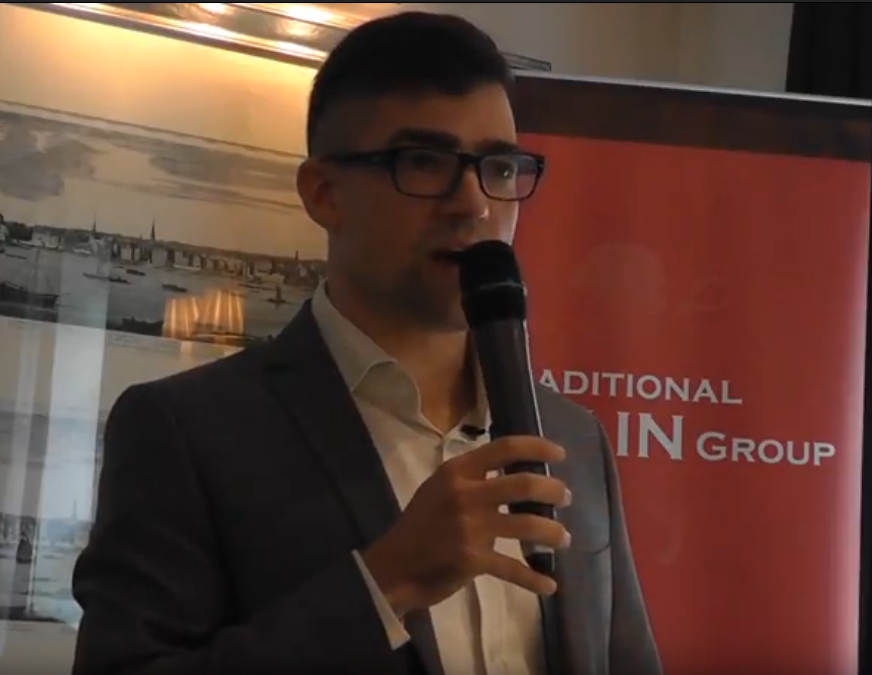 Martin Sellner, Leader of Austrian Generation Identity (Identitäre Bewegung Österreichs) Traditional Britain Conference 2017